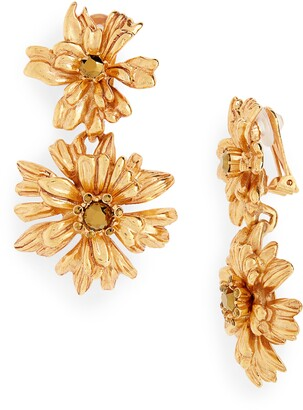 Oscar de la Renta Crystal Flower Drop Earrings