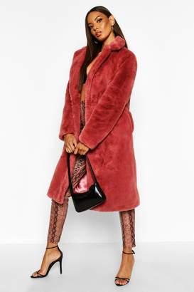 boohoo Revere Collar Faux Fur Coat