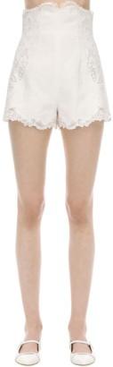 Zimmermann High Waist Embroidered Linen Shorts