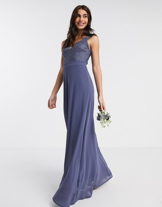 TFNC Bridesmaid scalloped lace top dress in navy