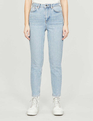 Topshop High-rise tapered jeans
