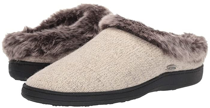 Acorn Chinchilla Clog Ragg (Charcoal Heather) Women's Slippers