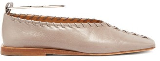 Jil Sander Whipstitched Square-toe Leather Ballet Flats - Beige