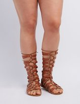 Charlotte Russe Wide Width & Calf Lace-Up Gladiator Sandals