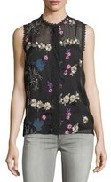 T Tahari Sleeveless Floral-Embroidered Blouse