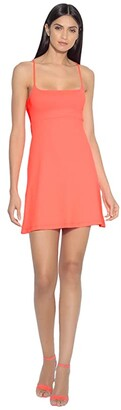 Susana Monaco Empire Waist Racer Cutout Dress (Fiery Coral) Women's Dress