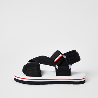 Hunter River Island Womens Originals Black velcro strappy sandals