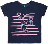 Benetton Girls Striped Cat T-Shirt