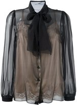 Dolce & Gabbana semi-sheer pussybow blouse - women - Silk/Cotton/Polyamide - 40