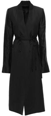 Ann Demeulemeester Satin And Twill-paneled Linen-blend Coat