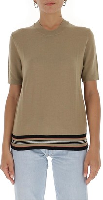 Burberry Icon Stripe Detail Short-Sleeved Knit Top