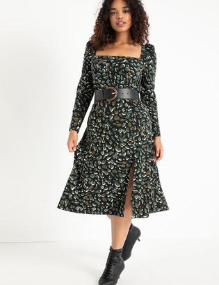 ELOQUII Puff Sleeve Square Neck Midi Dress