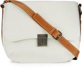 Kelsi Dagger Assembly Medium Leather Saddle Bag, Ice/Multi