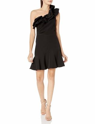 Keepsake Women's Compose One Shoulder Ruffle Drop Waist Mini Dress