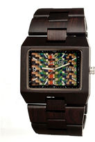 Earth Wood Rhizomes Skateboard-Dial Dark Brown Bracelet Watch With Date Ethew1206