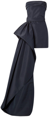 Reem Acra Asymmetric Draped Silk-faille Mini Dress