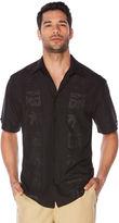 Cubavera Big & Tall Tonal Embroidered Palm Panel Shirt
