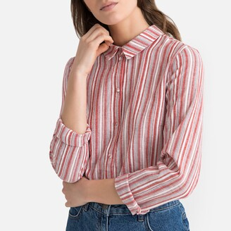 Vero Moda Striped Cotton Blouse with Long Sleeves