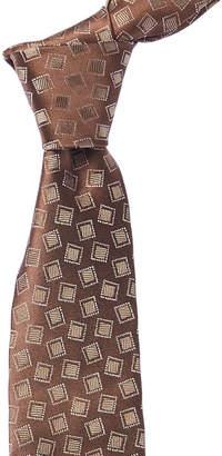 Isaia Brown Geometric Silk Tie