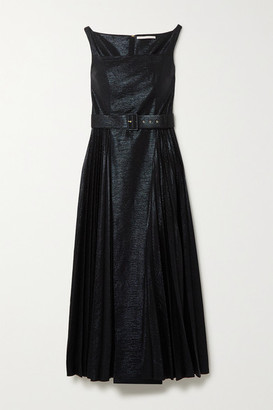 Emilia Wickstead Ingrid Pleated Metallic Coated-jersey Midi Dress - Black