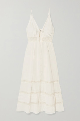Reformation Shelley Lace-trimmed Georgette Midi Dress - Ivory