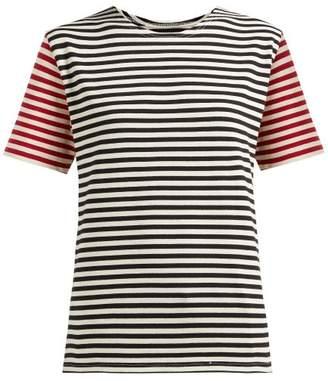 Myar - Contrast-sleeve Breton-stripe Cotton T-shirt - Womens - Red Multi