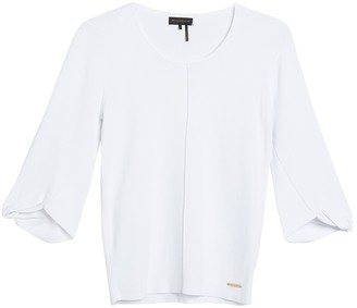 Donna Karan Knotted Sleeve Scoop Neck Top