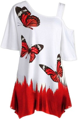 NEEDRA SALES Ladies Blouse Short Sleeve White Large Size Women Butterfly Printing T-Shirt Short Sleeve Tops Blouse RD/M