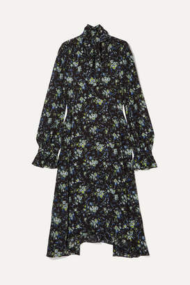 Les Rêveries Pussy-bow Floral-print Silk Crepe De Chine Midi Dress - Black