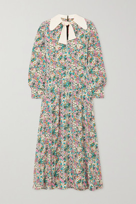 See by Chloe Pussy-bow Floral Print Silk Crepe De Chine Midi Dress - Green