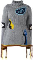 Joseph hand-knitted embroidered jumper