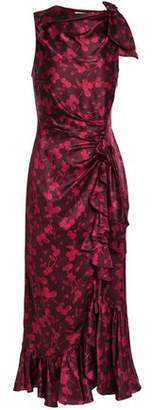 Cinq à Sept Nannon Bow-embellished Gathered Floral-print Silk-satin Midi Dress