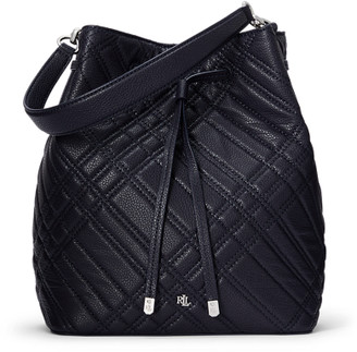 Ralph Lauren Plaid Quilted Debby Drawstring Bag