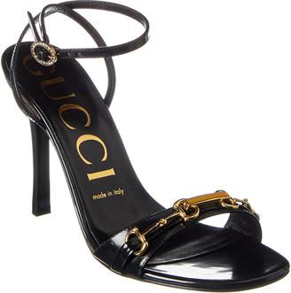 Gucci Horsebit Ankle Wrap Leather Sandal