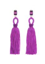 Oscar de la Renta Magenta Long Silk Tassel Earrings