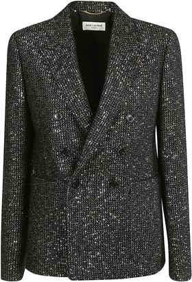 Saint Laurent Sequin-coated Double-breasted Blazer