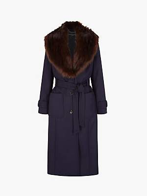Four Seasons Faux Fur Collar Coat, Blue