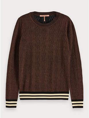 Maison Scotch Lurex Pullover Aubergine - Size M
