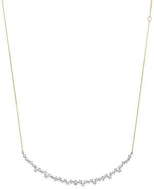 Adina Sterling Silver & 14K Yellow Gold Scattered Diamond Large Curve Collar Necklace, 13.5