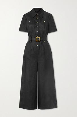Zimmermann Poppy Belted Linen Jumpsuit - Black