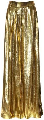 Alexandre Vauthier High Waist Metallic Silk Wide Leg Pants