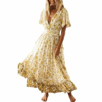 Rouyamiao Women's Bohemian Floral Printed Wrap V Neck Short Sleeve Beach Party Long Maxi Dress (Yellow XL )