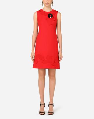 Dolce & Gabbana Short Crepe Dress With Gros-Grain Details