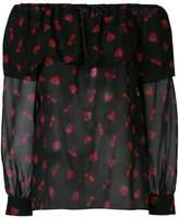 Miu Miu strawberry print off the shoulder blouse