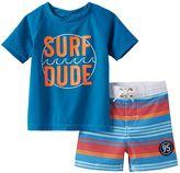 "Osh Kosh Baby Boy Surf Dude"" Rashguard & Striped Swim Shorts Set"