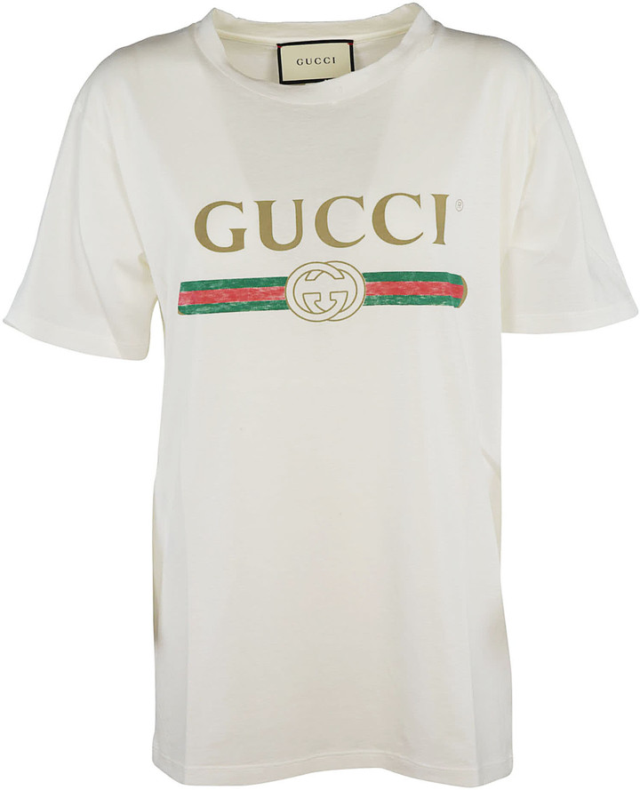 6fbdb80ebc0d Gucci Logo Print T-shirt - ShopStyle