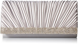 Jessica McClintock Women's Chloe Satin Pleated Rhinestone Clutch Evening Handbag