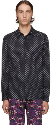 Dries Van Noten Navy Cotton Poplin Shirt