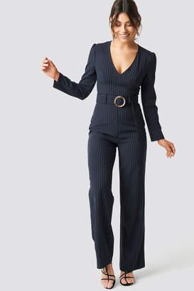 Karl Lagerfeld Paris Milena X NA-KD Pinstriped Flared Jumpsuit Blue