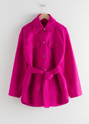 And other stories Wool Blend Belted Overshirt Jacket